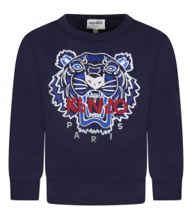 Blue sweatshirt for boy with iconic tiger