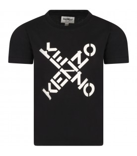 Black t-shirt for kids with logos