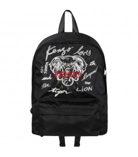 Black backpack for boy with elephant