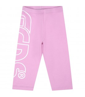 Lilac leggings for baby girl with logo