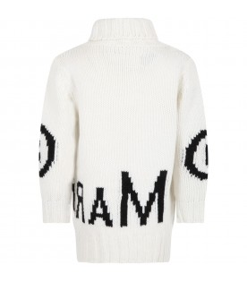 Ivory sweater for girl with logo