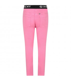 Pink jeans for girl with logos