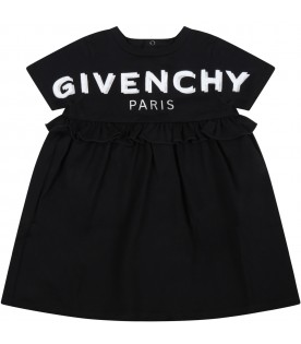 Black dress for baby girl with double logo