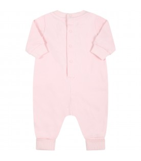 Pink babygrow for baby girl with logo