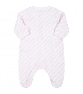 White babygrow for baby girl with logos