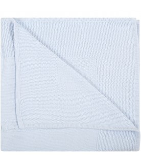 Light-blue blanket for baby boy with logo