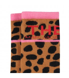 Brown socks for girl with logo