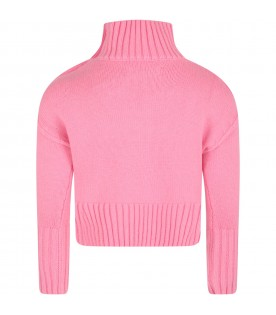 Pink sweater for girl with writings