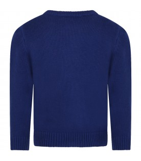 Blue sweater for boy with writing