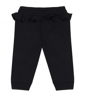 Black sweatpant for baby girl with logo