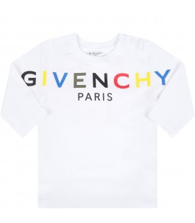 White t-shirt for baby kids with logo
