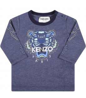 Light blue t-shirt for baby boy with iconic tiger