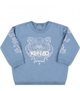 Light blue sweatshirt for baby boy with tiger