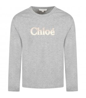 Grey t-shirt for girl with logo