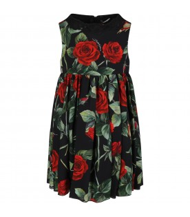 Black dress for girl with red roses