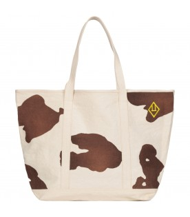 Ivory bag for kids with yellow logo