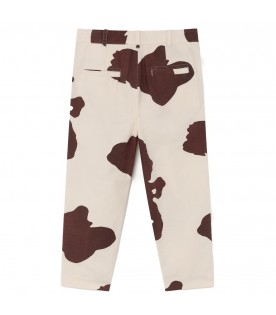 Ivory trousers for kids with yellow logo