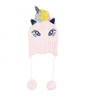 Pink hat for baby girl with unicorn