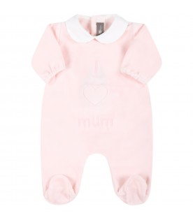 Pink babygrow for baby girl with writing
