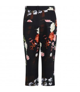 Black ''Andrè'' trouser for girl with flowers