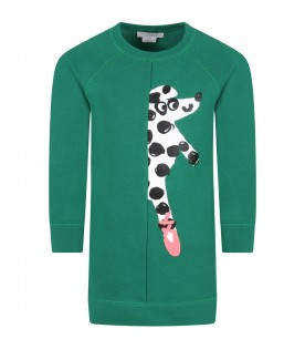Green dress for girl with dalmatian
