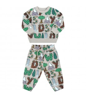 Green tracksuit for baby kids with colorful prints