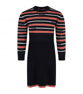 Multicolor dress for girl with logos