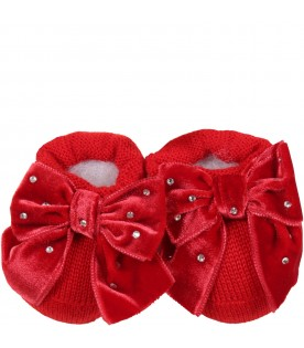Red bootee for baby girl