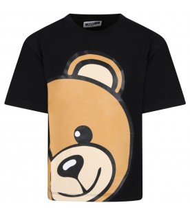 Black t-shirt for kids with teddy bear