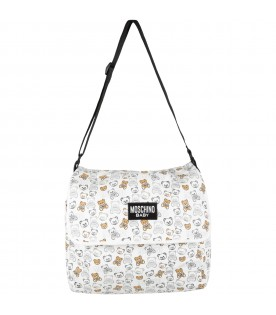 White changing bag for baby kids with teddy bears