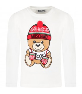 White t-shirt for kids with teddy bear