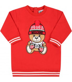 Red dress for baby girl with teddy bear