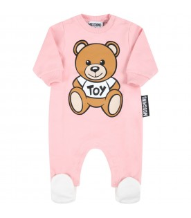 Pink babygrow for baby girl with teddy bear