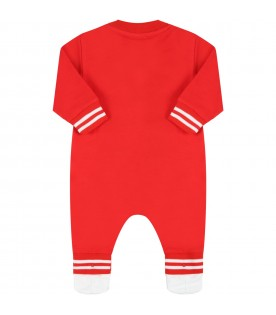 Red babygrow for baby kids with teddy bear
