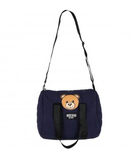 Blue changing bag for baby kids with teddy bear