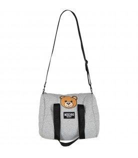 Grey changing bag for baby kids with teddy bear