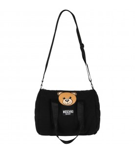Black changing bag for baby kids with teddy bear