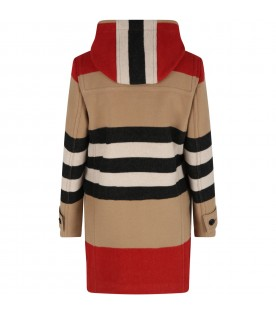 Beige montgomery for girl wwith iconic stripes