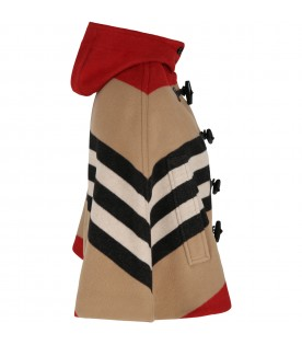 Beige cape for girl with iconic stripes