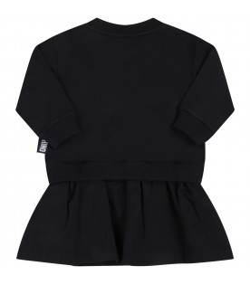 Black dress for baby girl with teddy bear