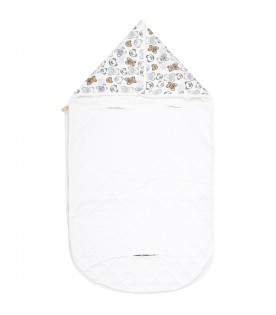 White sleeping bag for baby kids with logo