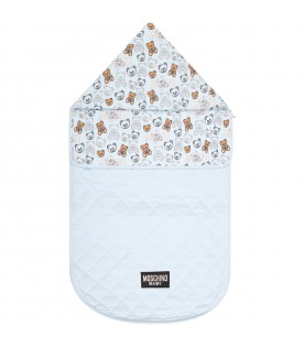 Light blue sleeping bag for baby boy with logo