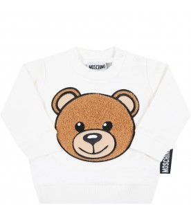 White sweatshirt for baby kids with teddy bear