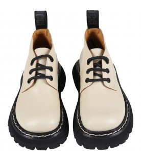 Beige shoes for kids with logo