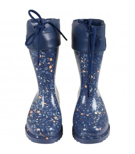 Blue boots for girl with spots
