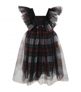 Multicolor dress for girl with check