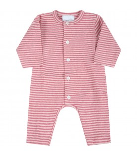 Multicolor jumpsuit for baby girl with logo
