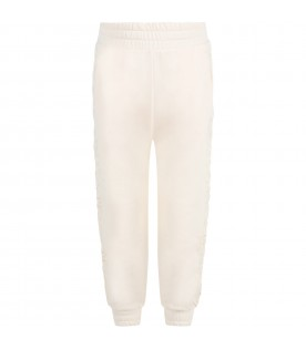 Pink sweatpants for girl with logo patch