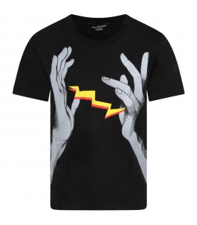 Black t-shirt for boy with hands