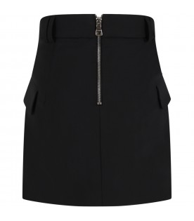 Black skirt for girl with patch logo